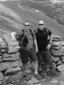 Ain't no mountain high enough for EBB's Chris Sandwell (left), here with colleague Steve Tinniswood, EBB Office's  divisional manager on a company teambuilding exercise recently.