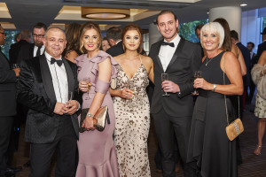 Paper Salad's co-founder Karen Wilson (right) with her 'baby' Jack (who is now the company's general manager) at the recent Henries with colleagues (third right) Jess Hadfield and Helena Woollam as well as House of Cards' Miles Robinson.