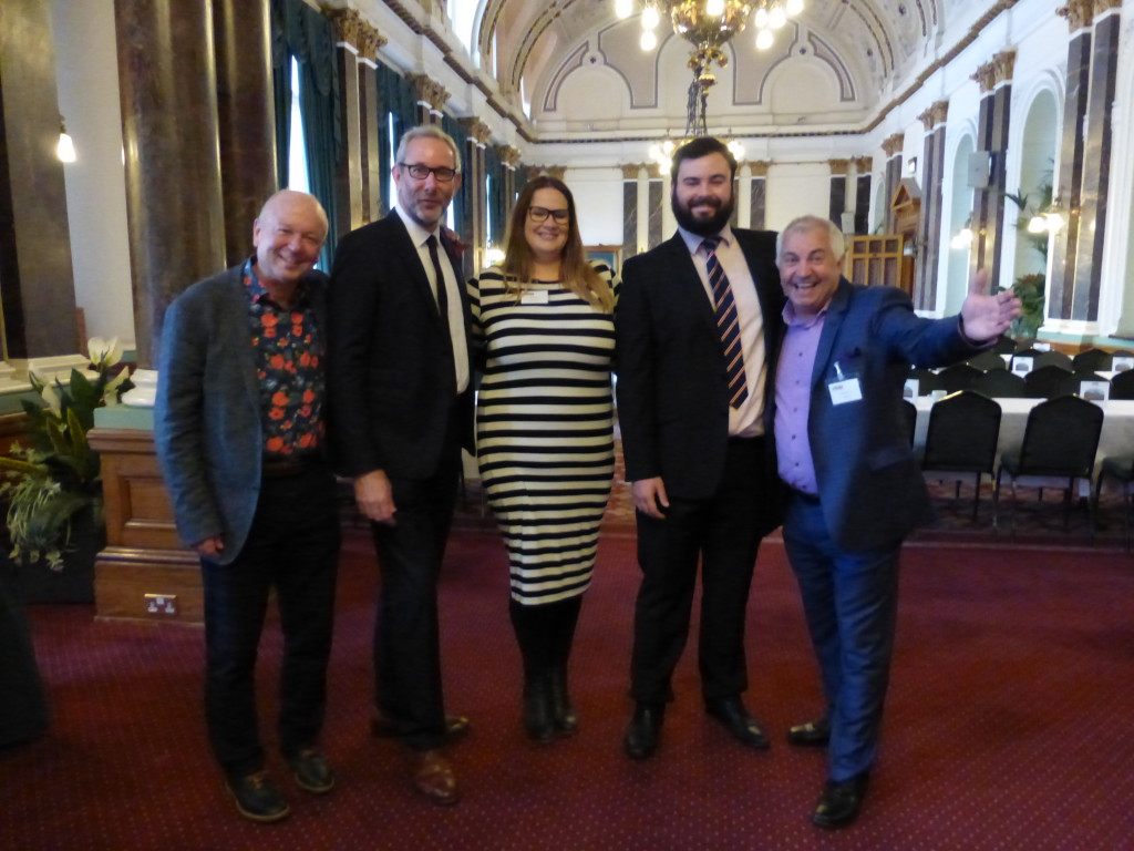 (Right-left) Bill Greeno (Paperlink), James Mace (The Art File), Carly Pearson (Sainsbury's), Ged Mace (The Art File) and PG's Warren Lomax.