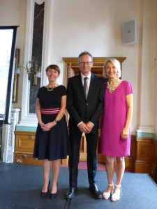 (Left-right) New GCA president, UKG's Ceri Stirland with Bank of England's Glynn Jones and GCA's Sharon Little.
