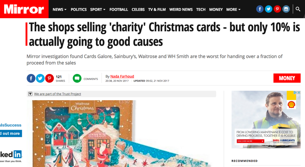 The Mirror failed to acknowledge the huge sums that the industry raises through the sale of charity cards.