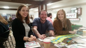 Liam Knights (centre) with Society members (right) Beth Poynton and Charlotte Manning.