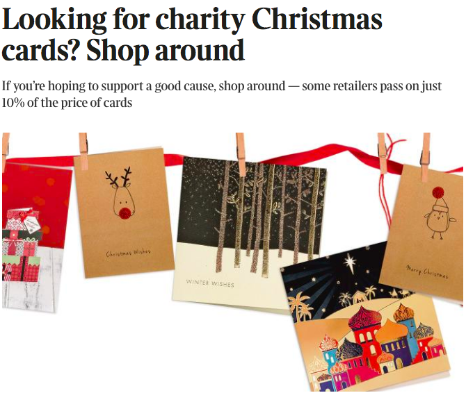 the washing line of charity cards that the times featured in its piece - Christmas Cards For Charity 2017