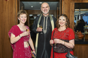 Lisa Marcuccio (right) with Really Good's David Hicks and Lisa Shoesmith at last year's Bollywood-themed Henries awards.