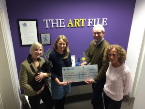 Charity CLIC Sargent is delighted to have received almost £128,000 from The Art File through the sales of Christmas cards over the last few years with the publisher's founders' Ged and Karen Mace having recently handed over £22,000 to the charity.
