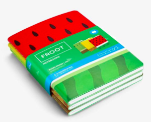 Three Froot notebooks from Morrisons, that retail at £5.99.