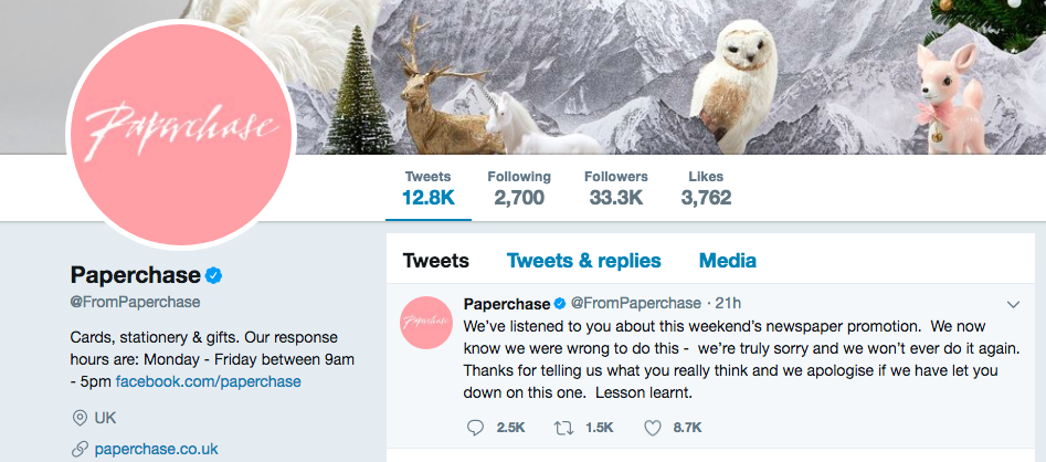 Paperchase sent out an apology after receiving feedback on social media.