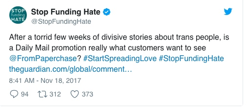 The Twitter post from Stop Funding Hate from Saturday morning.
