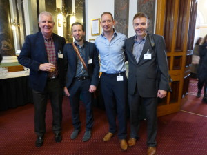 Chris Fox (second left) at the recent GCA AGM with (right to left) Second Nature's Chris Bryan and Tim West with Giftisimo's Peter Fitzpatrick.
