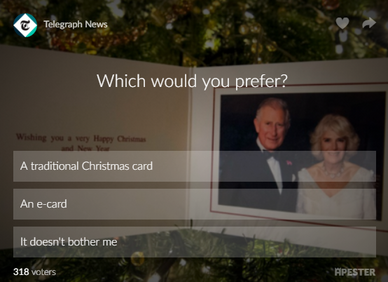 The Telegraph's article also ran a poll asking whether people prefer an e-card or real card.