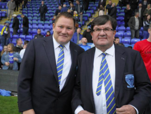 Stuart Middleton (left) with vice chairman of Warrington Wolves, Steven Broomhead.