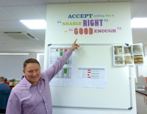 Stuart Middleton in the Card Factory studio with one of the company's many mottos.