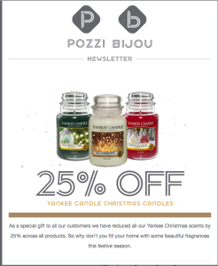 JP Pozzi is scoring with its festive emailer promotions.