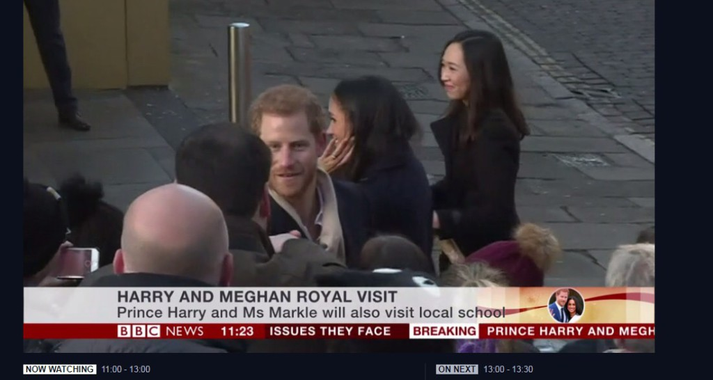 The back of James Mace of The Art File (dark hair) appeared on BBC news having shaken hands with Prince Harry.