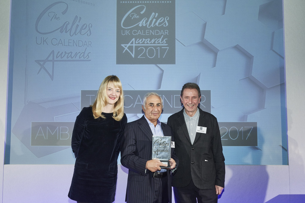 Danilo's founder and chairman Laurence Prince (centre) was presented with the first ever Calendar Ambassador award at last week's Calies, UK Calendar Awards by Eight Days a Week's owner Nigel Green (right) who were joined on stage by comedian Tania Edwards who hosted the awards ceremony.