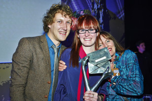 Grace Turner (middle) with her husband Chris and mum Sallyann at the 2014 Henries where GracieGirl won the award for Best Handmade or Hand-Finished.