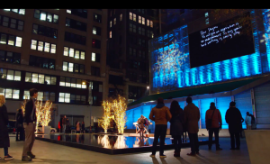 Participants and bystanders were amazed that the messages written inside the cards appeared almost instantaneously on a huge screen on the side of an adjacent building.