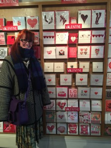 Grace at Paper Tiger in Edinburgh–one of her first stockists.