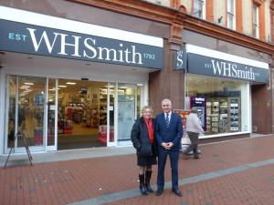 WHS card buyer Claire Castle outside the Reading branch with store manager Andy Dever.