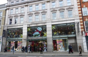 Paperchase's Tottenham Court Road store with a confident Christmas window.