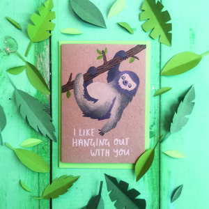 Sarah Jackson, founder of Stormy Knight, not only has a sloth design or two in her card collection but she has written and illustrated a book (being launched in March) with a sloth as the star!