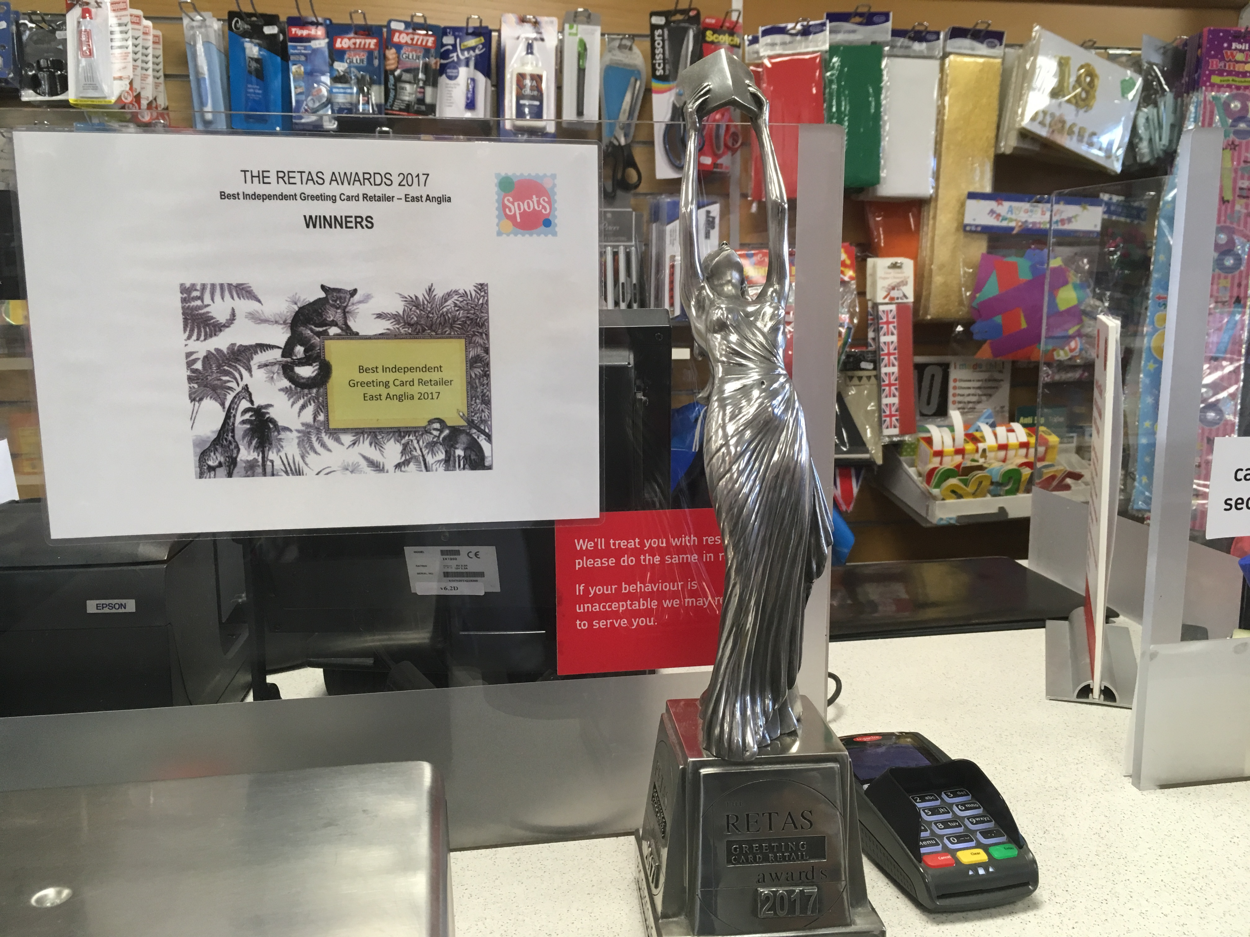 Above: Spots' Retas award has pride of place on the counter.