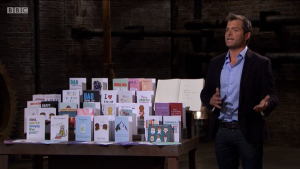 Thortful's co-founder and ceo of Thortful trying to win the Dragons over on the BBC 2 Dragons' Den Boxing Day special.