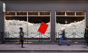 The window of GFSmith's Show Space in central London champions the new Extract range.