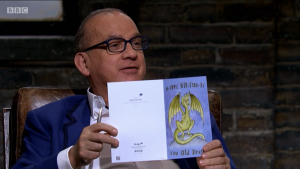 Dragon Touker Suleyman was not too keen on being described as an 'Old Dragon' on a Thortful card he was given by Andrew Pearce.