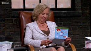 Dragon Deborah Meaden gives some thought to the online greeting card opportunities.