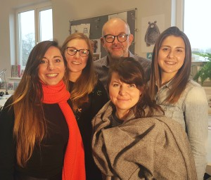 Designers (left-right) Cordelia Hutchison, Dulcie Price, Darren Dearden, Malgosia Piatkowska, Zoe Damoulakis in the Ling studio.