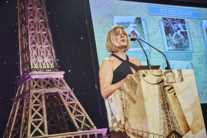 Event director Alison Graham presenting an award at The Henries greeting card industry awards last October.