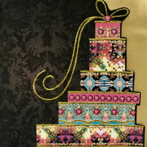 A lavish look from Bijou's Signature Collection, that come with gold envelopes.