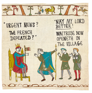 Inspired by the Bayeux Tapestry the Hysterical Heritage designs depict the Saxons and Normans with contemporary references combined them with their early Medieval lifestyles.