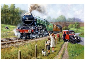 'Watching the Train' from Rothbury Publishing's selection of vintage steam trains.