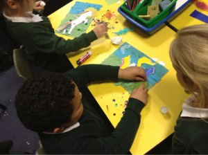 The children at work on their mythical creatures.