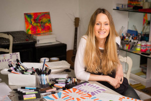 Charlotte, in her studio. She feels that in many situations a 'get well' card is not appropriate for mental health sufferers.