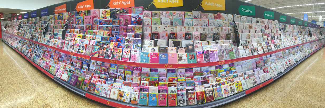 The new look Celebrations card department in Asda.