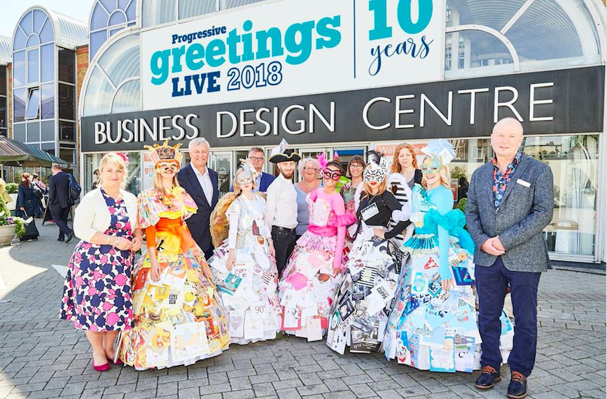 The PG Live team with the meters and greeters in their card dresses, which will be a popular feature of PG Live.