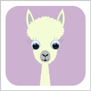 A lovely llama with wobbly eyes from Stripey Cats Cards.