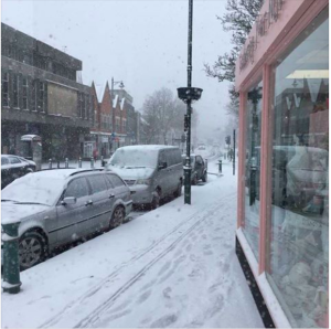 The snow outside Feathering Your Nest store, Rayleigh during last week's bad weather.