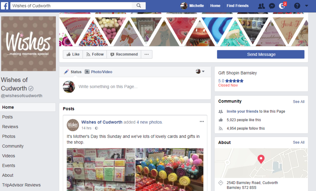 Setting up your own business Facebook page is free and an easy way to engage with your customers.