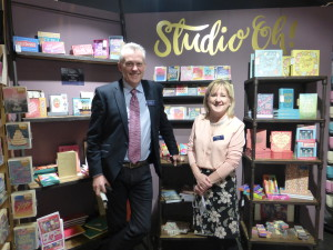 Sue Grant with Widdop's sales director Andrew Illingworth at Spring Fair 2017 at which Studio Oh launched.