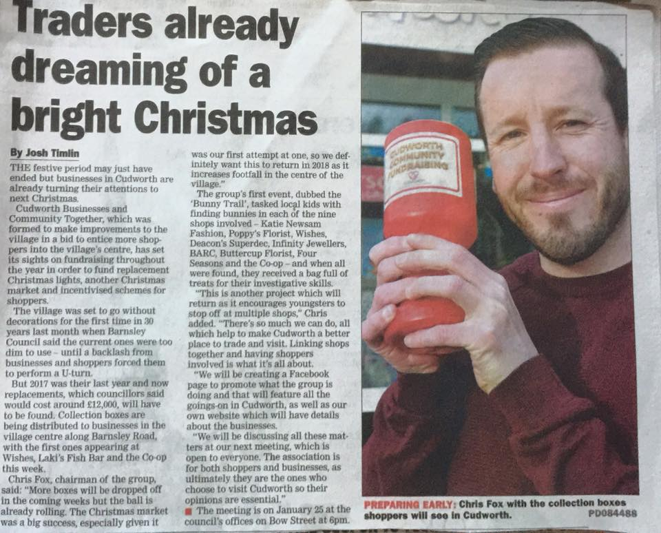Chris Fox in the local paper, 'rattling the tin' for 'supporting your community and your community will support you.'