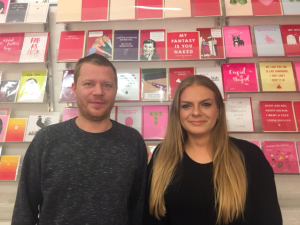 Vanessa Mallia, Scribbler's PR and social media manager with the retailer's card buyer, Eliot James.