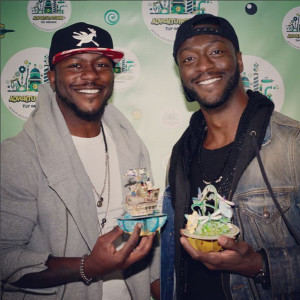 (Right) Aldis Hodge (actor who starred in Hidden Figures, Straight Outta Compton, Die Hard With A Vengeance) and Edwin Hodge (actor in The Purge and Six) enjoying Santoro's Pirouettes!