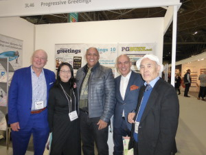 Santoro's Goddie Quayle (centre) and Lucio Santoro (2nd left) on the PG stand at the recent Spring Fair with Toy Symphony's Hiroshi Kawamura (far right) and Kayoko Kubo as well as PG's Warren Lomax.
