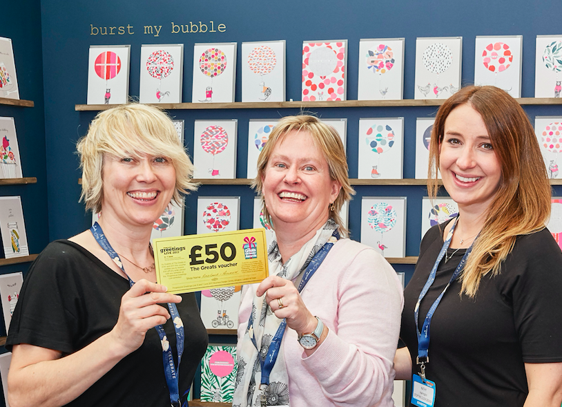 Red Cards' Sally Matson (centre) on the Stop the Clock stand at last year's PG Live.