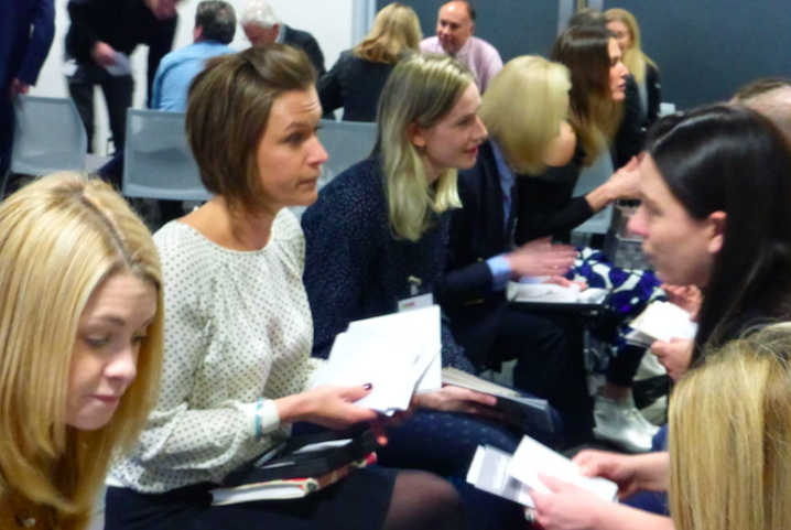 Publishers will be given 10 minutes with three different dragons to pitch their ideas. In full flow at last year's event (front left-right) Alexa Stretton from Always Sparkle, Marina Brook from Marina B and Lizzie Chancellor of Lizzie Chancellor pitching their cards to some 'dragons'.