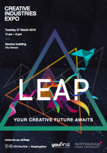 Above: Poster designed by NTU students advertising the Creative Industries Expo on March 27.